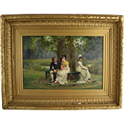 "Arthur Langley Vernon (English, 19thC) ""The Enchanting Interlude"" Original Oil on Ca"