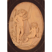 SOLD Antique Hand Carved Wood Plaque Cherubs Fishing Framed in Velvet Wood Shadow Box Frame