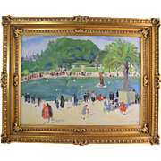 Isabel Hickey (American 1872-1931) Pennsylvania Impressionist Artist French Park Scene Riviera