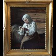 Carl Christian Ferdinand Wentorf (Danish 1863-1914) Peasant Woman Knitting Genre Painting 1890
