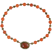SALE Vintage Chinese Carnelian & Silver Gilt Filigree Necklace Art Deco 1930s Signed