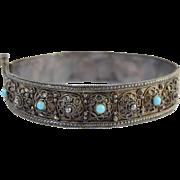 "Vintage Turkish Silver Filigree & Turquoise Hinged Bangle Bracelet 5/8"" Wide"