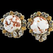 "Vintage c1950 ""Robert"" Signed Clip Earrings Rhinestone & White & Gold Aventurine Ven"