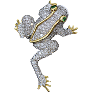 18K Pave Diamond & Tsavorite Garnet Frog Pin Pendant Figural White & Yellow Gold
