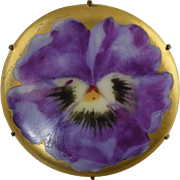 SOLD Vintage Porcelain Pin w/Hand Painted Purple Pansy