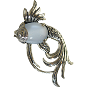 "Vintage Beaucraft Sterling Silver ""Jelly Belly"" Beta Fish Pin/Brooch"