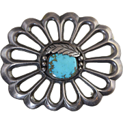 Vintage Old Pawn Navajo Sterling Silver Sand Cast Belt Buckle with Turquoise 51.5 grams