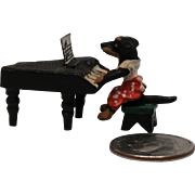 Vintage  Miniature Vienna Bronze of Dog Playing Piano