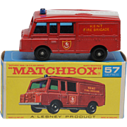 Vintage Lesney Matchbox 57c Landrover Fire Truck Mint in Mint Box