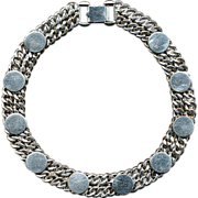 Mid-Century Chunky Silvertone Collar Necklace Signed KAFIN - NEW YORK