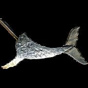 Vintage Modernist KUHL Sterling Silver Narwhal Whale Pin Brooch