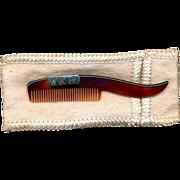 Vintage Faux Tortoise Shell & Sterling Mustache Comb