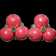 Bold Vintage Pop Art Neon Pink & Green Earrings