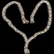 Vintage NAPIER Crystal Rhinestone Necklace w/ ~Y~Teardrop