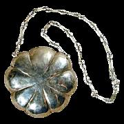 Large Modernist Hand-Hammered Sterling Silver Pendant Necklace