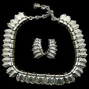 Vintage CORO Art Deco Silvertone Demi - Necklace & Earrings