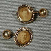Victorian Gold-Filled Photo Portrait Cufflinks Almost Happy Couple