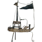 Vintage Sterling Silver Filigree Ship Figurine Odd Boat on Legs w/ Flags