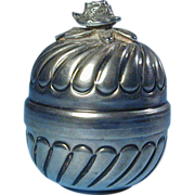 Mid-Century Belgium 900 Silver Rose-Topped Box - Handwrought