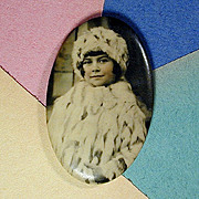 c1915 Little Girl in Fur Old Celluloid Photo Pocket Mirror