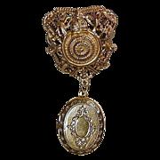 Vintage FLORENZA Old-Fashioned Goldtone Locket Pin