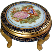 Vintage Limoges France Footed Porcelain Box w/ Romantic Couple