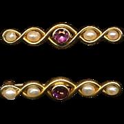 Antique Pair of 14K Gold Petite Bar Pins w/ Pearls & Amethyst