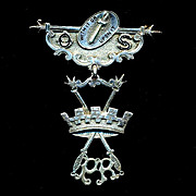 Antique 1800s Sterling Silver Medal Badge Spartan Message Military Pin