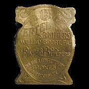 Antique Victorian Brass Advertising Desk Wall Paper Clip ERTEL BROS. PA.