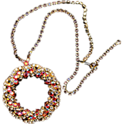 Big Ring of AB Crystal Rhinestones Pendant Necklace