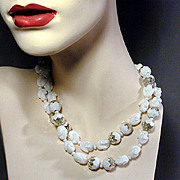 Long Zig-Zag Confetti & White Milk Glass Curled Beads Necklace