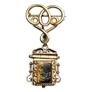Victorian R.F. Simmons Gold-Filled Chatelaine Pin w/ Cameo Locket Fob
