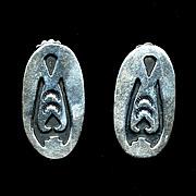 Vintage Signed Sterling Silver NAVAJO  Earrings