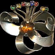 Art Deco Era Sterling Silver Rhinestone Flower Brooch Pin