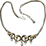 Vintage Alfred Philippe Trifari Necklace w/ Clear Austrian Crystals