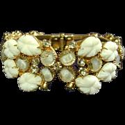 Gorgeous c1940s Rhinestone Clamper Bracelet w/ Molded Glass