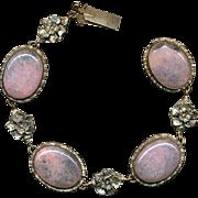'Wow...That's Beautiful' Old Czech Bracelet w/ Pink Glass Cabs