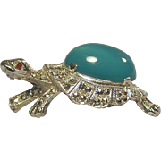 Vintage Alice Caviness Sterling Silver Turtle Pin - Marcasites