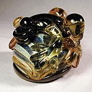 Vintage Studio Art Glass Bug-Eyed Frog Paperweight