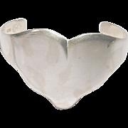 Los Ballesteros Taxco Sterling Silver HEART Cuff Bracelet