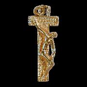 Modernist Solid 14K Gold Christian Crucifix - Unusual Design