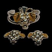 Vintage Mexican Sterling Silver GRAPES Set Cuff Bracelet Earrings