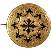 c1880s Victorian Gold-Filled Pin Brooch / Pendant Enameled