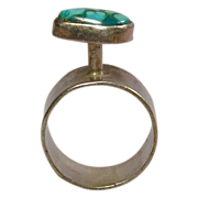 Modernist High Top Sterling Silver Ring w/ Turquoise