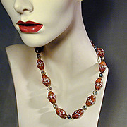 Vintage Wedding Cake Venetian Art Glass Bead Necklace