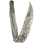 Big Bold Long Necklace - Mesh - Crystals - Faux Pearls