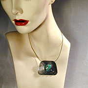 Native American Sterling Turquoise Pendant Necklace