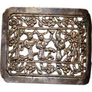 Antique Chinese Silver Buckle Amulet Adornment Qing Dynasty
