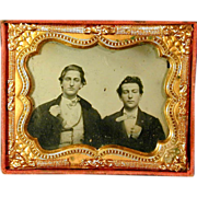 Early Victorian Ambrotype in Case - Two Young Men - Dandies