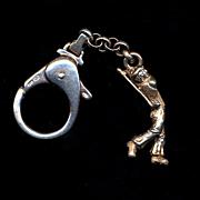 Vintage Solid Sterling Silver GOLF Golfer Key Chain Fob